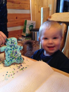 Decorating gingerbread men with the little dude!